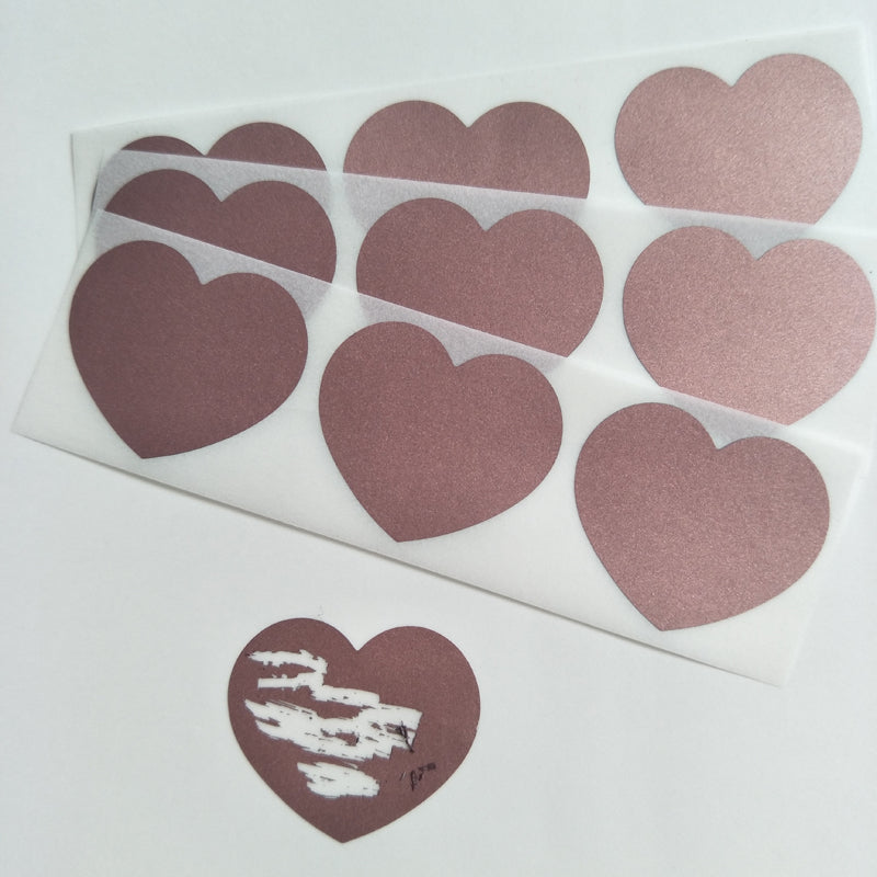 Rose gold heart  scratch off sticker for Secret Message or Wedding game 30x35mm
