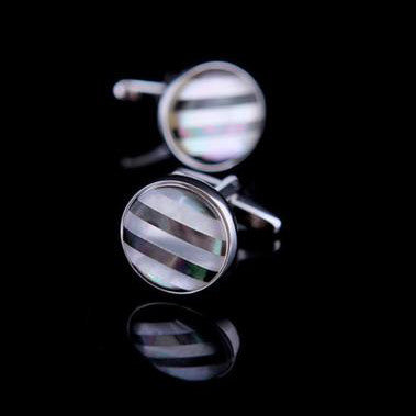 Groom Cufflinks round shell Contemporary design