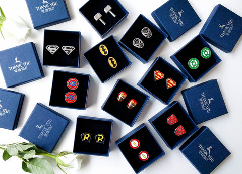 Wedding party Superheroes Cufflinks set of 9 - choose your cufflinks