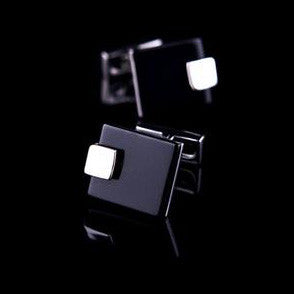Groom Cufflinks black and silver square Contemporary design