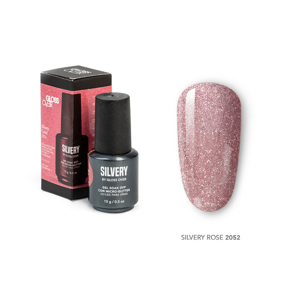 Gloss Over Gel De Color para Uñas Con Micro Glitters Silvery Rose 2052 - Kokoro MX