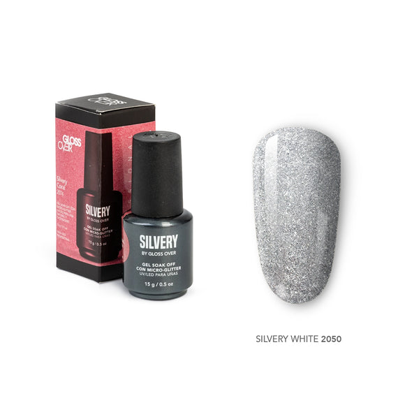 Gloss Over Gel De Color para Uñas Micro glitters Silvery White 2050 - Kokoro MX