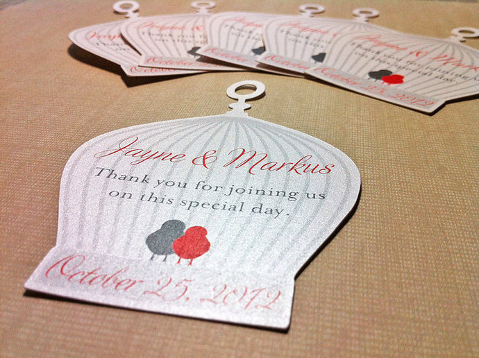 Special Birdcage Wedding Tags