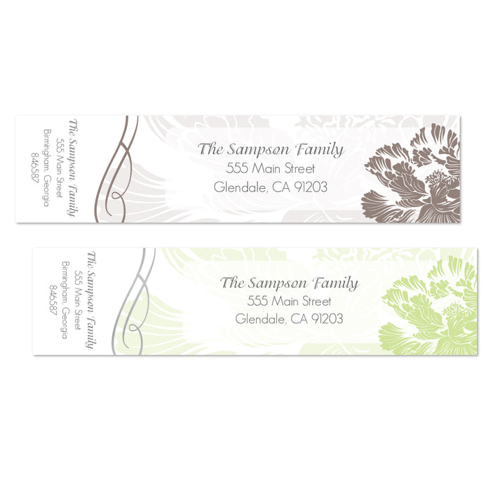 Big Flower Swirl Wrap Address Labels