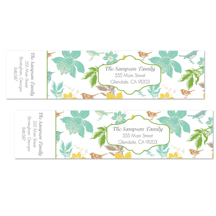 Botanical Flowers Wrap Address Labels