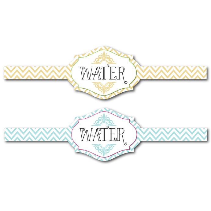 Diecut Flourish Water Bottle Labels