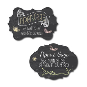 Floral Chalk Address Labels