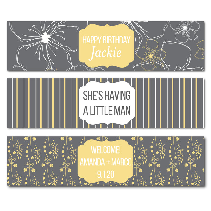 Grey Pattern Water Bottle Labels