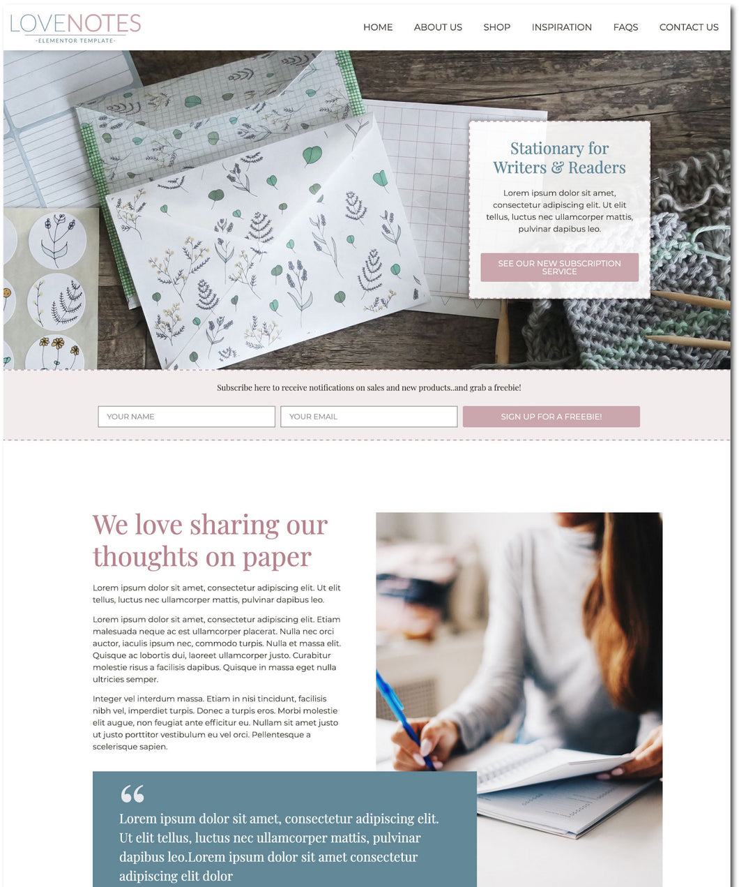 LoveNotes - Cute One-Page Elementor Template