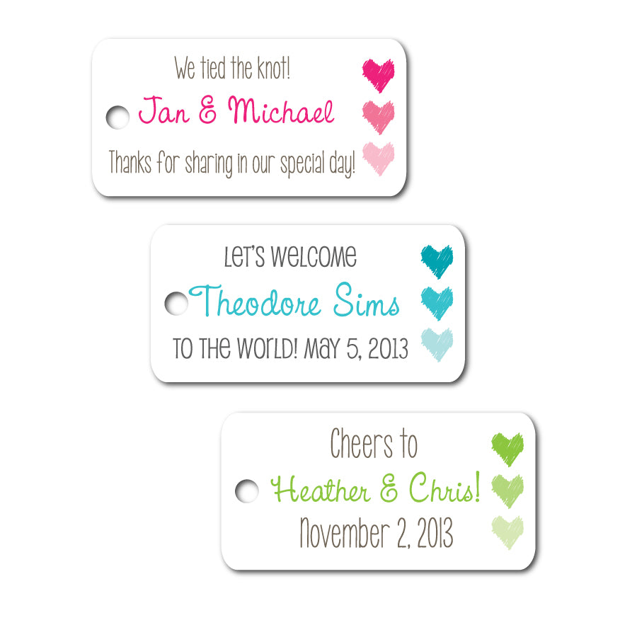 Ombre Heart Mini Tags