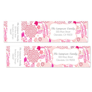Bright Pink Floral Wrap Address Labels