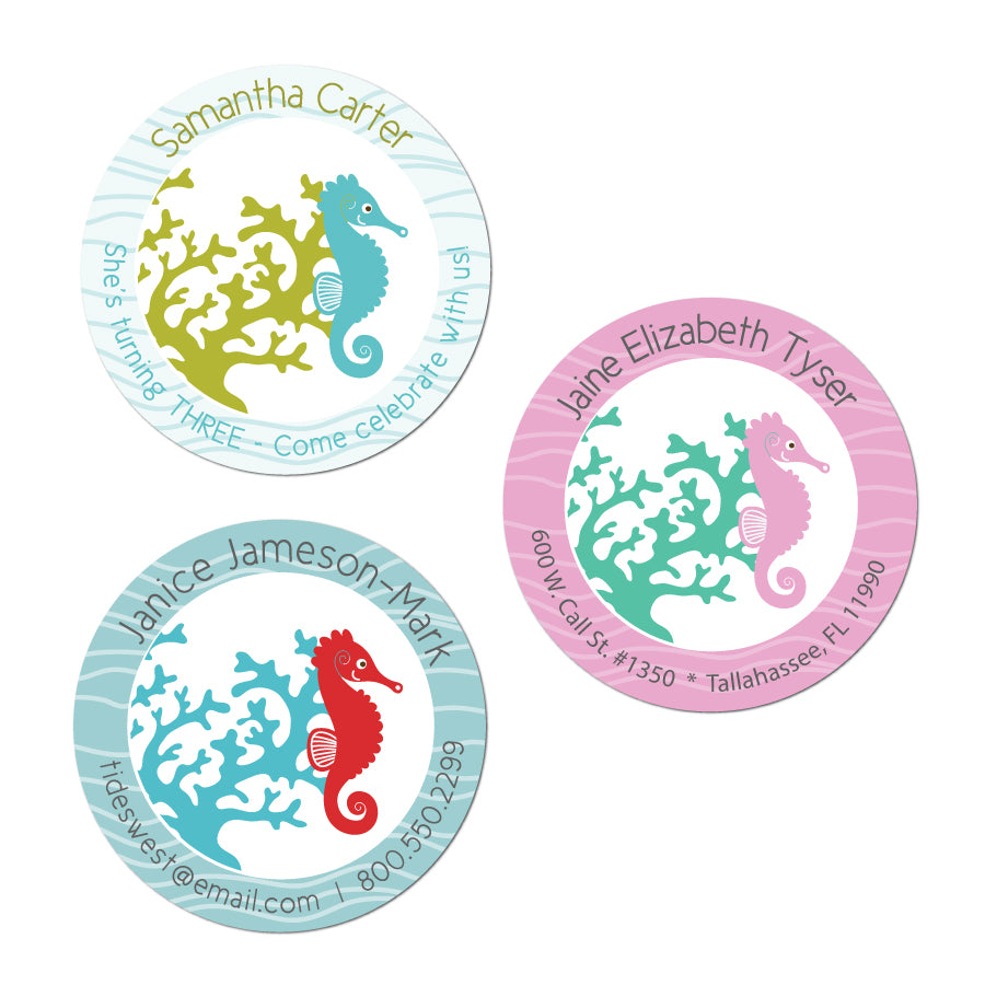 Seahorse Circle Stickers