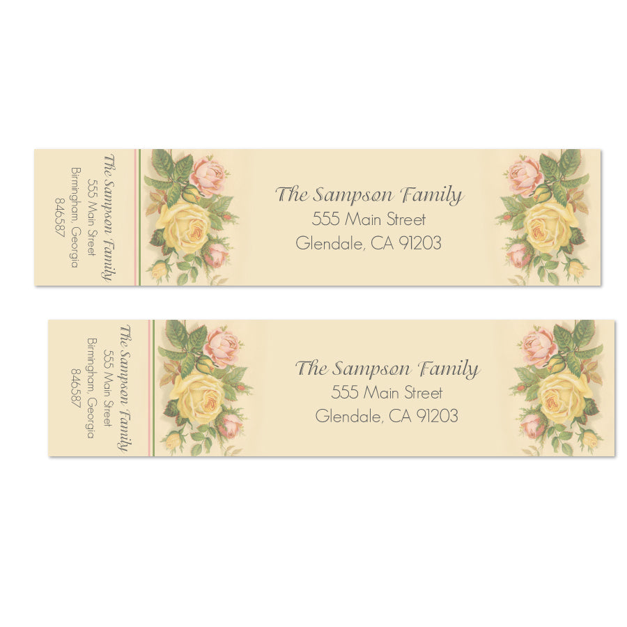 Vintage Flowers Wrap Labels