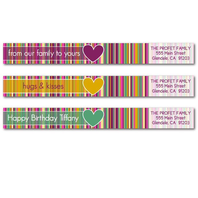 Bold Striped Skinny Wrap Address Labels