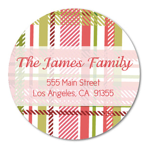 Round Plaid Address Labels
