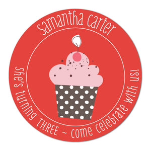 Kid Cupcake Birthday Stickers