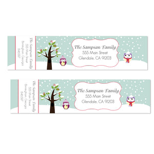 Cute Owl Holiday Labels