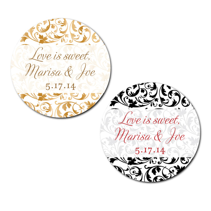 Damask Circle Labels
