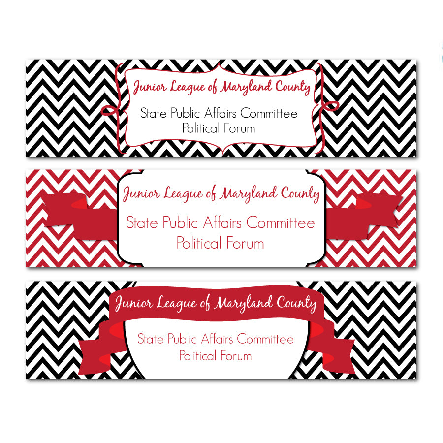 Red & Black Elegant Water Bottle Labels