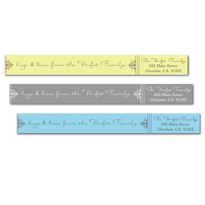 Fancy Flourish Skinny Wrap Labels - NEW COLORS