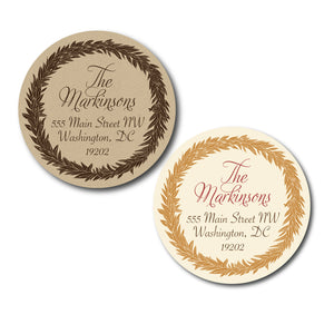 Holiday Wreath Circle Address Labels