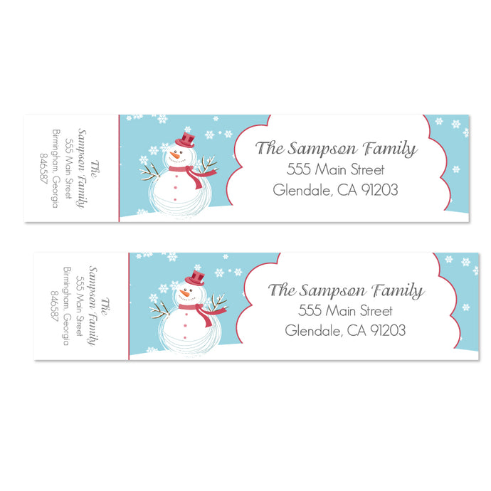 Holiday Snowman Wrap Labels - Printable