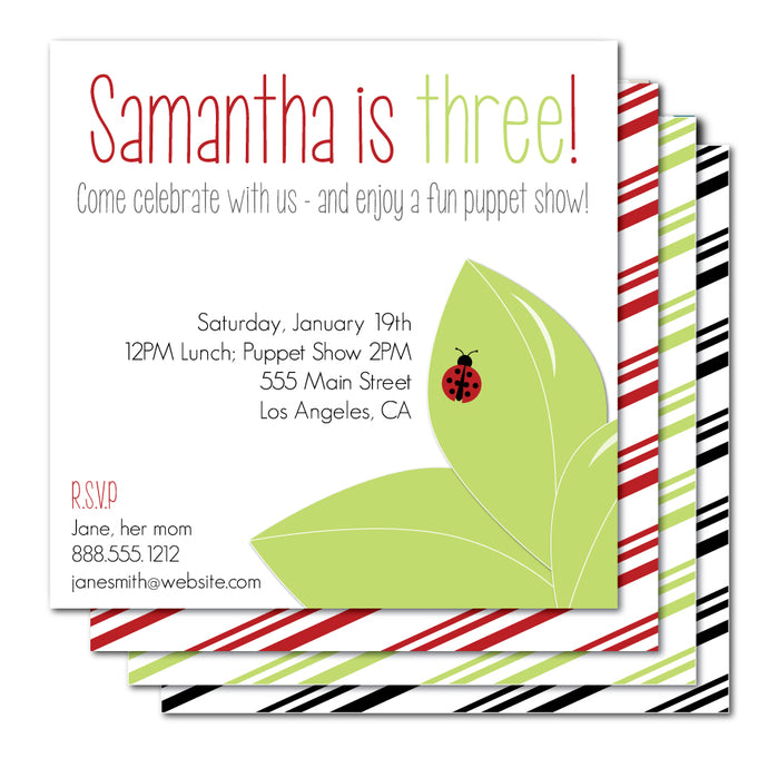 Ladybug Kid Birthday Invitation