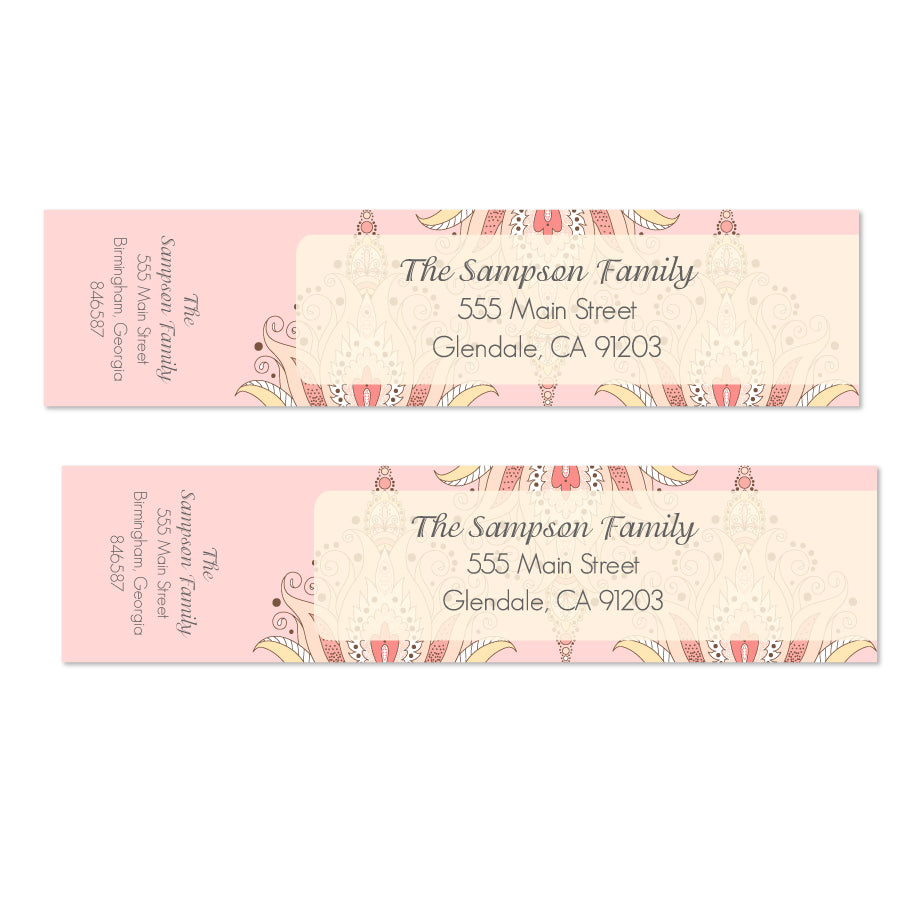 Nouveau Damask Wrap Labels - Printable
