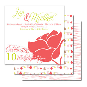 Red Rose Anniversary Invitation