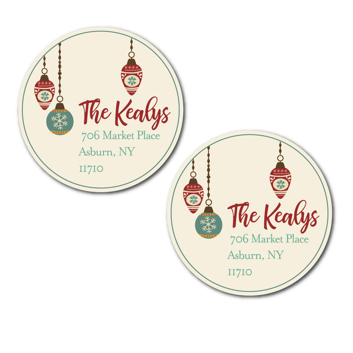 Vintage Ornament Circle Labels