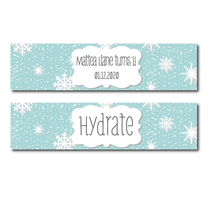 Winter Snowflake Water Bottle Labels