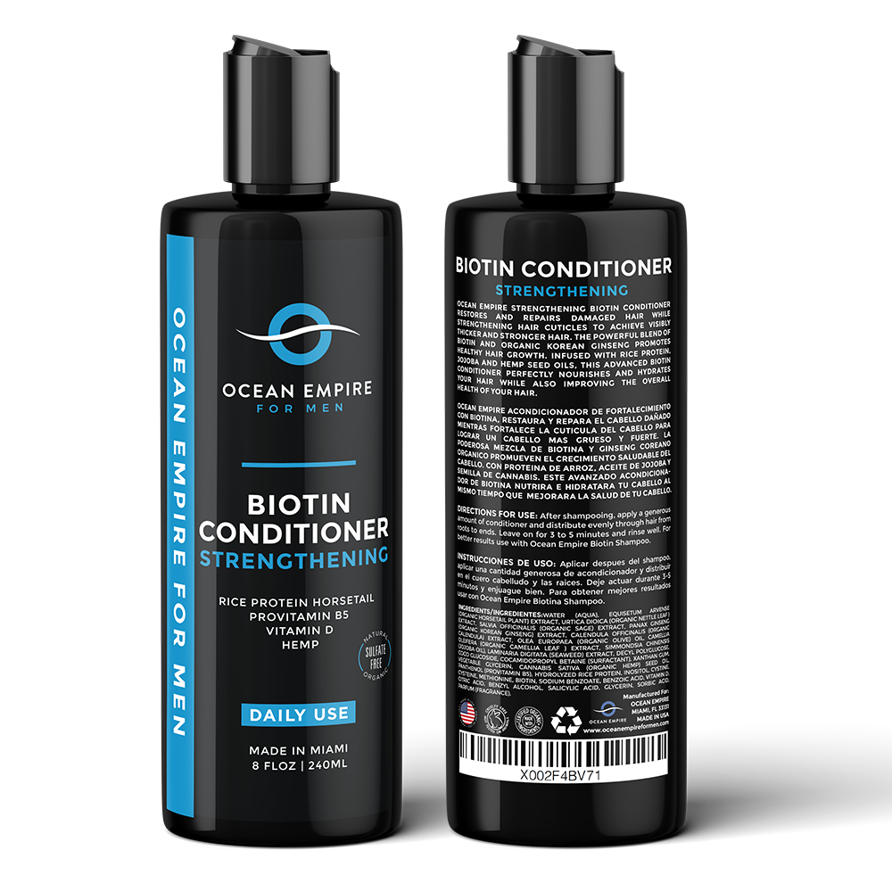 Ocean Empire Strengthening Biotin Conditioner for men. Made in Miami