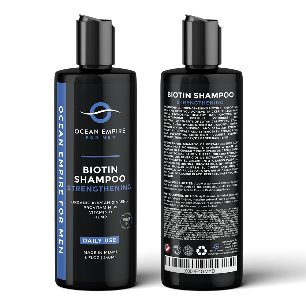 Ocean Empire Strengthening Biotin Shampoo for men. Made in Miami