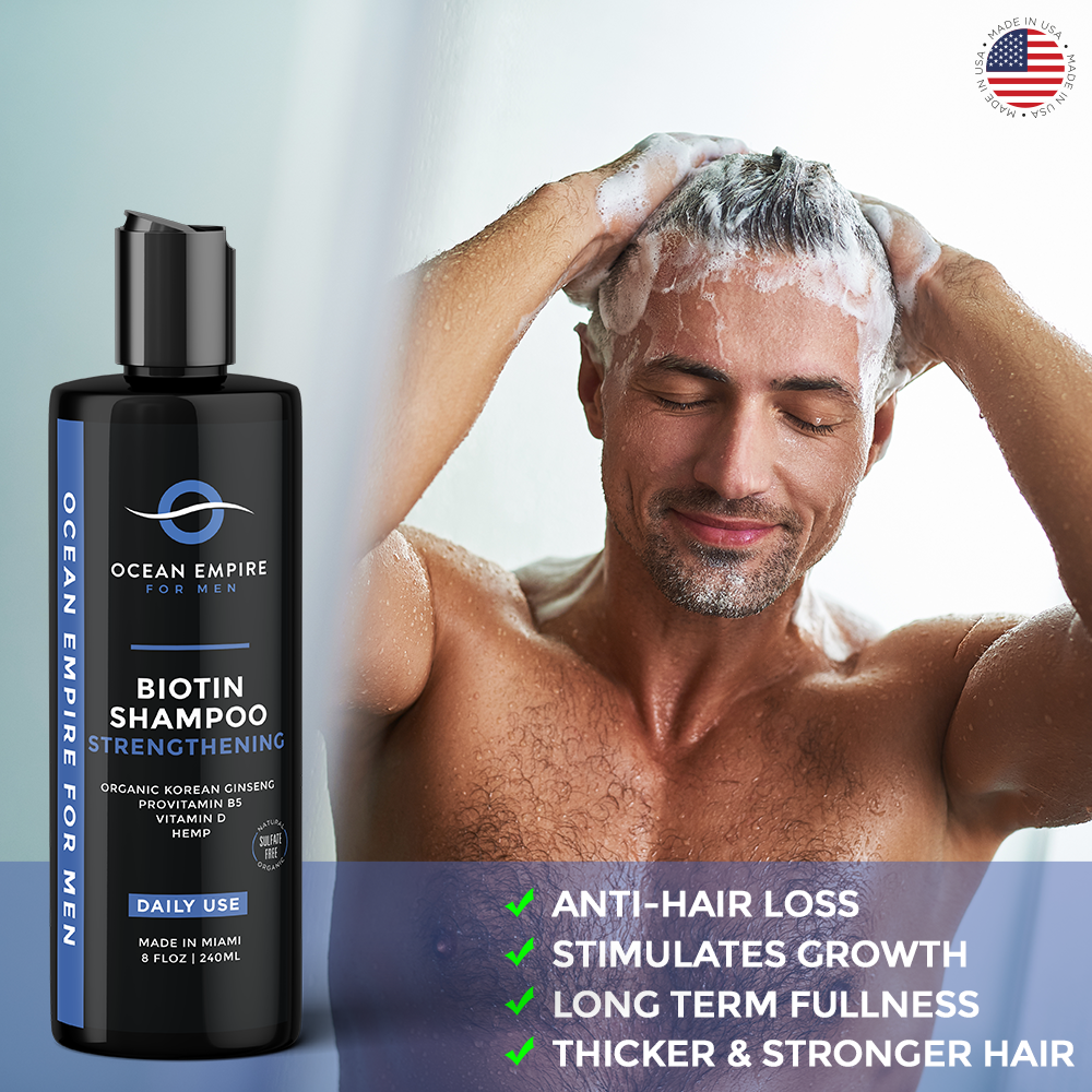 Ocean Empire Strengthening Biotin Shampoo for men stimulates hair growth for a long term fullness, thicker and stronger hair. Anti-hair loss shampoo for men