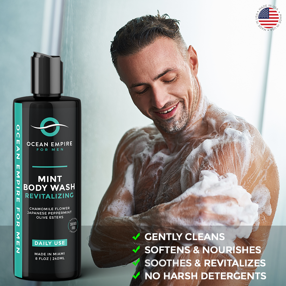 Ocean Empire Revitalizing Mint Body wash for men gently cleans, softens and nourishes, soothes and revitalizes. No harsh detergents