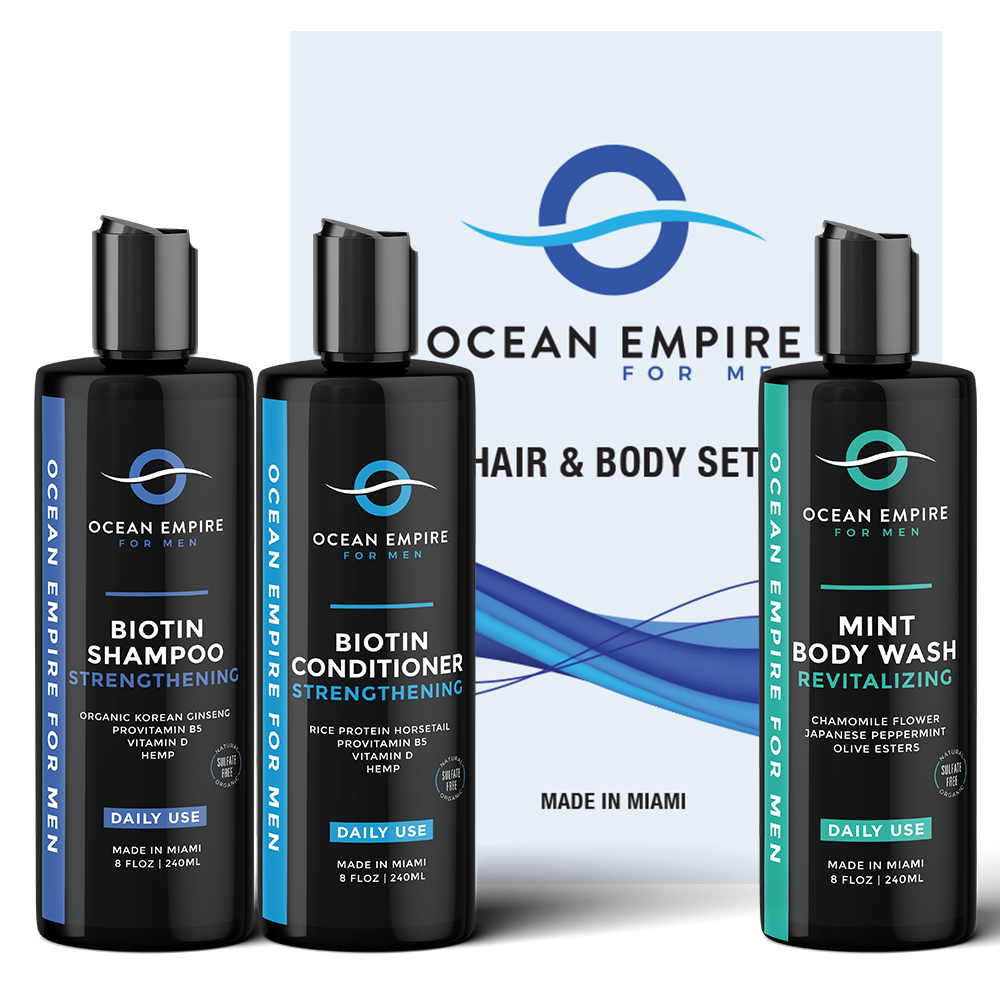 Best gift for men. The ultimate men's anti-aging set: strengthening biotin conditioner, shampoo and revitalizing mint body wash for men. From Brickell, Miami