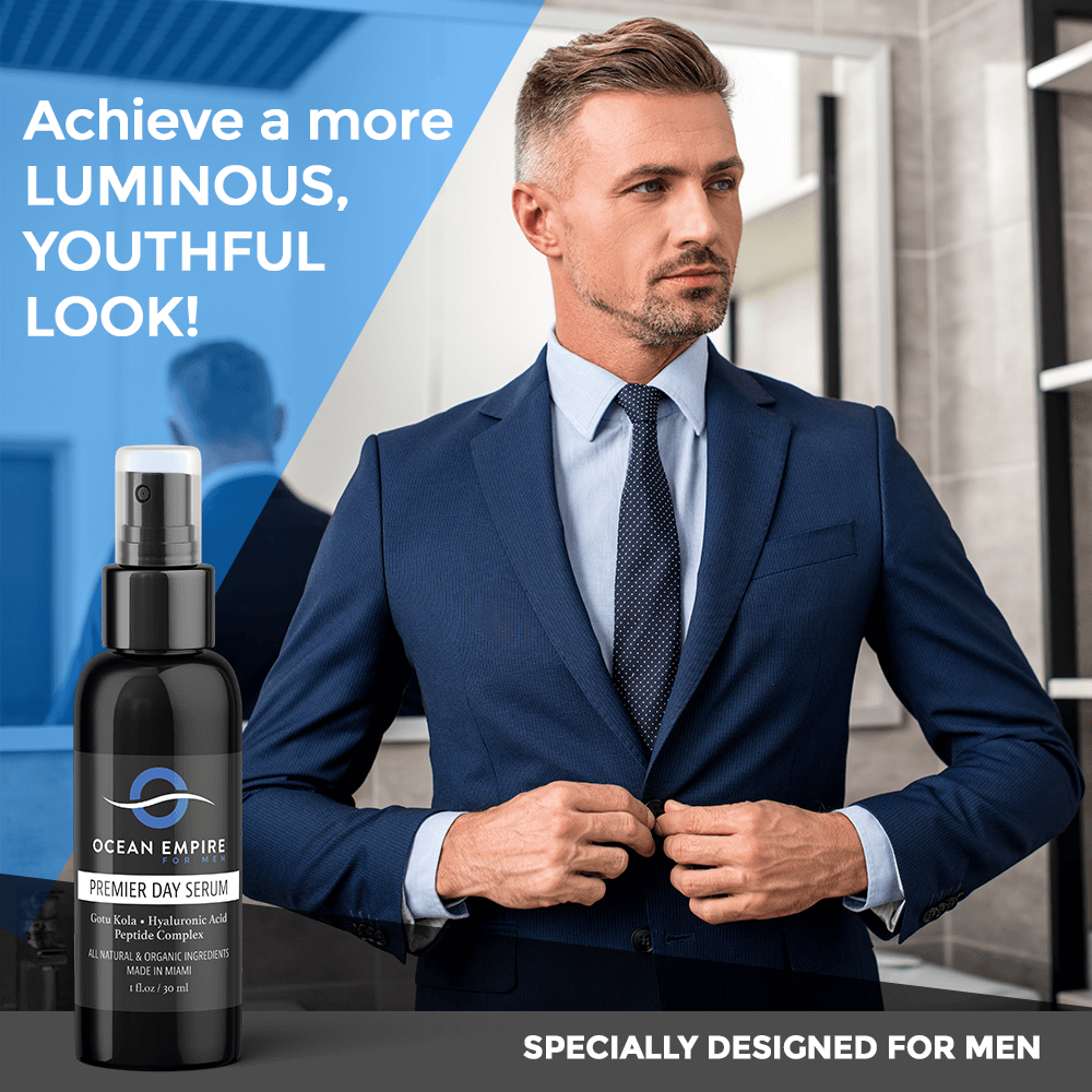 Ocean Empire for Men Premier Anti-aging Face and Eye serum. Achieve a more luminous, youthful look! Specially designed for men