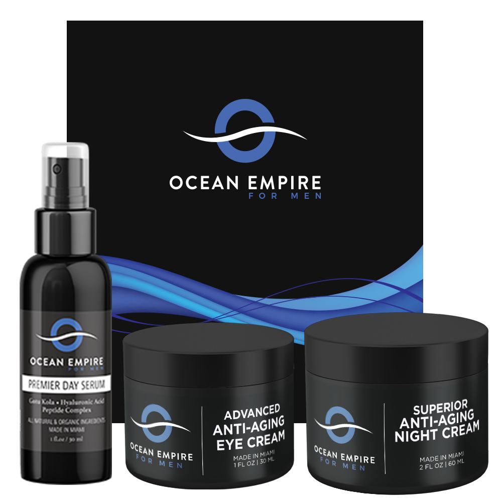 Best gift for men. The ultimate men's anti-aging set: advanced eye cream for men, superior anti-aging night cream for men, premier day serum. From Brickell, Miami