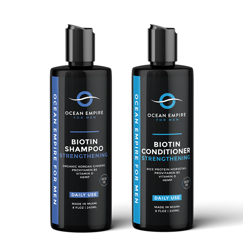 Ocean Empire Strengthening Biotin Conditioner for men made with Biotin, Korean Ginseng, Rice Protein, Jojoba Oil, ProVitamin B5, Organc Horsetail, Hemp seed oil, Nettle leaf.Ocean Empire Strengthening Biotin Shampoo for men. Made with Biotin, Korean Ginseng, Organic Rosemary, Jojoba oil, ProVitamin B5, Organic Lavander, Hemp Seed oil, Seaweed.
