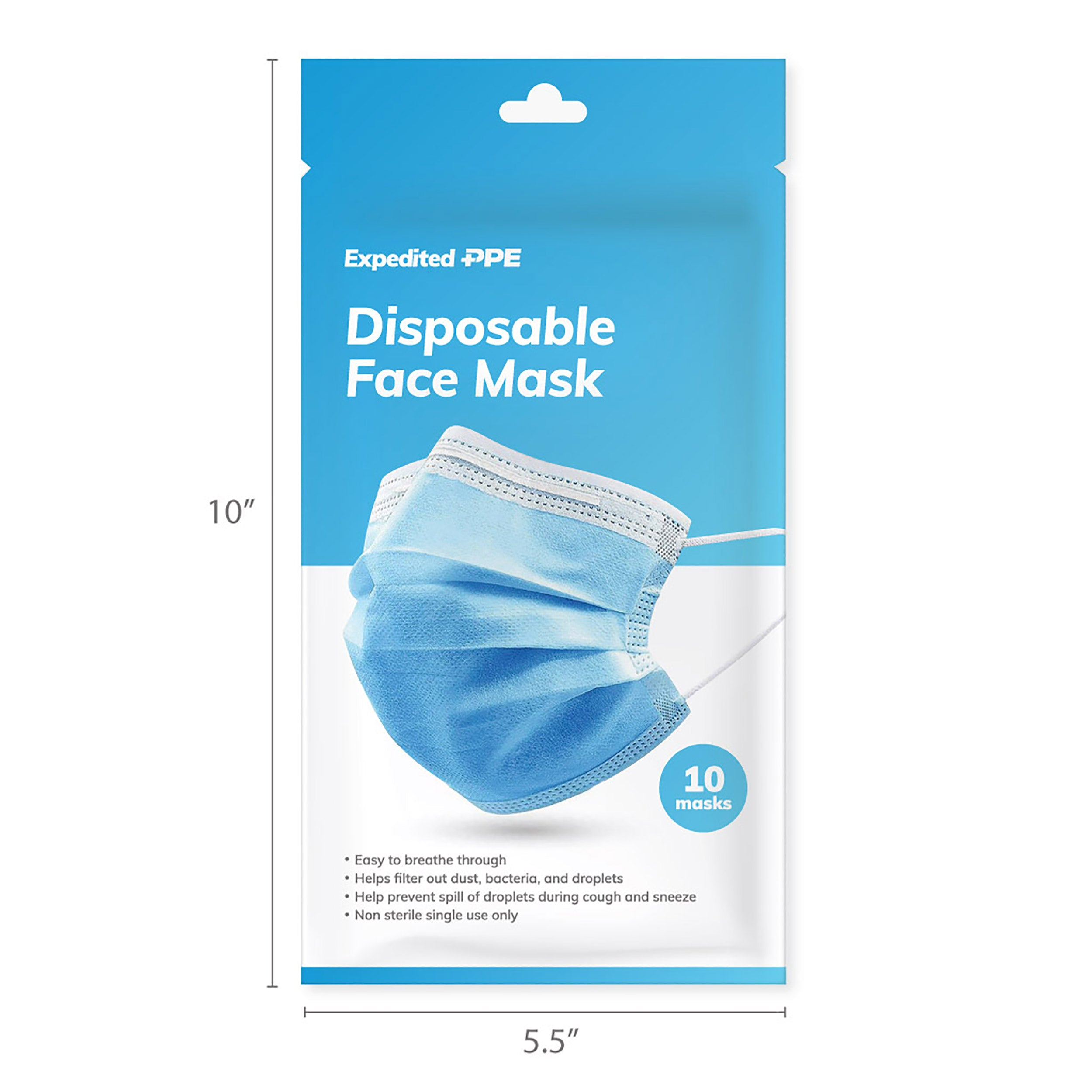 50-Pack Disposable Face Mask with Ear Loop (5 cases of 10-Pack)
