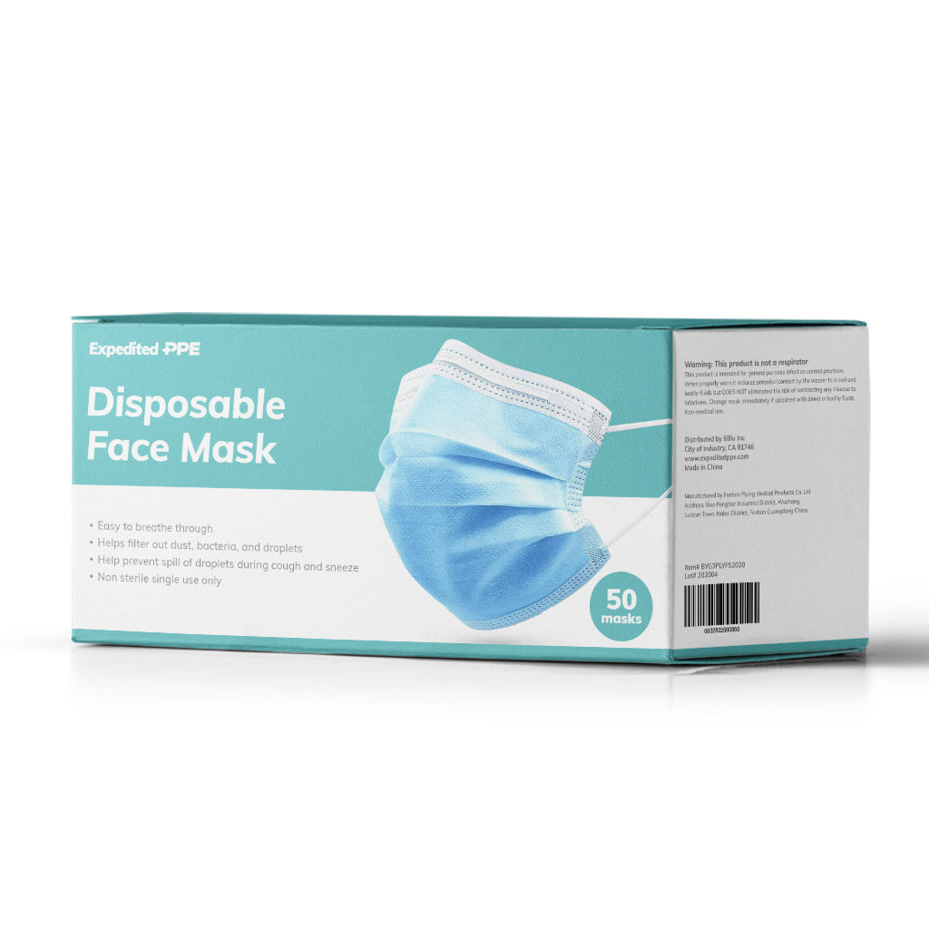 50 pack of blue disposable masks