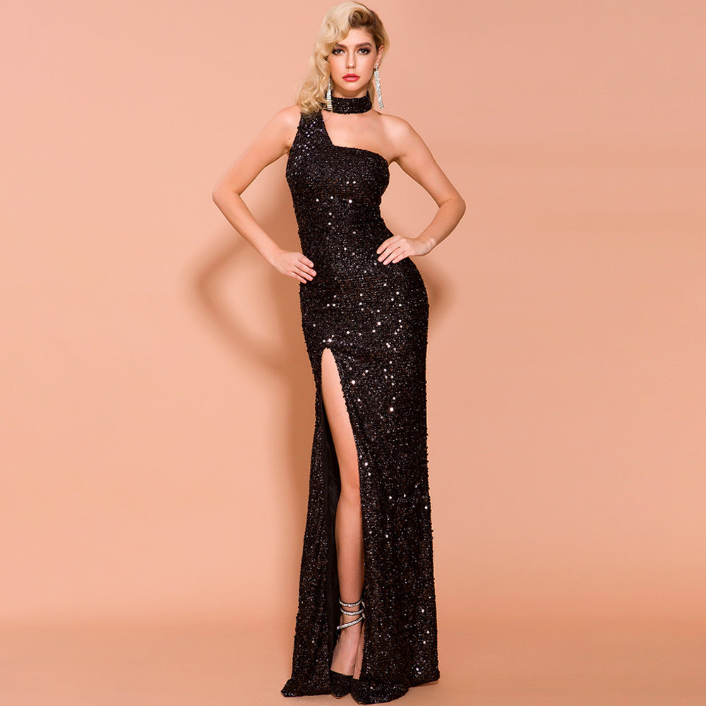 Split sequined banquet Dress