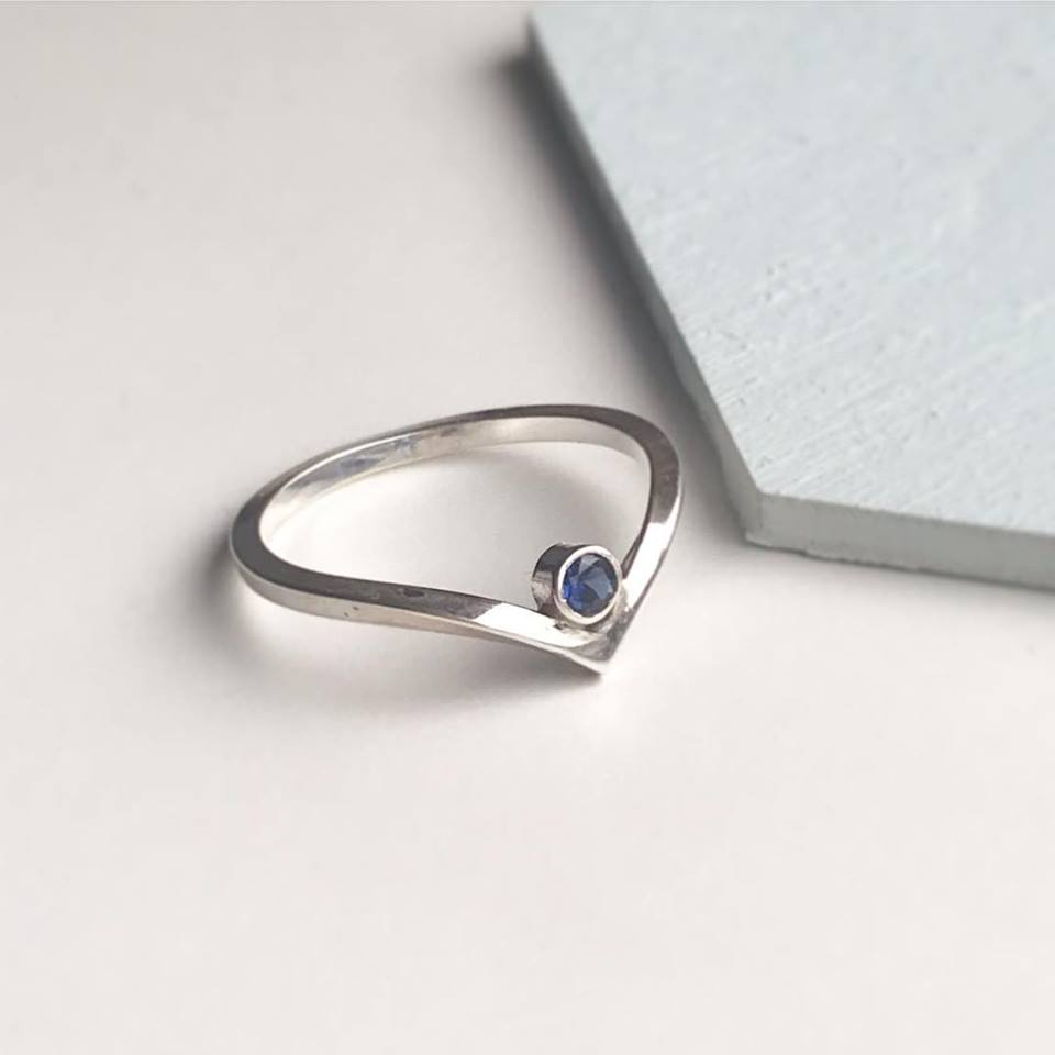 Wishbone Birthstone Ring