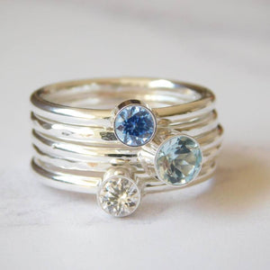 Ocean Gemstone Ring Set