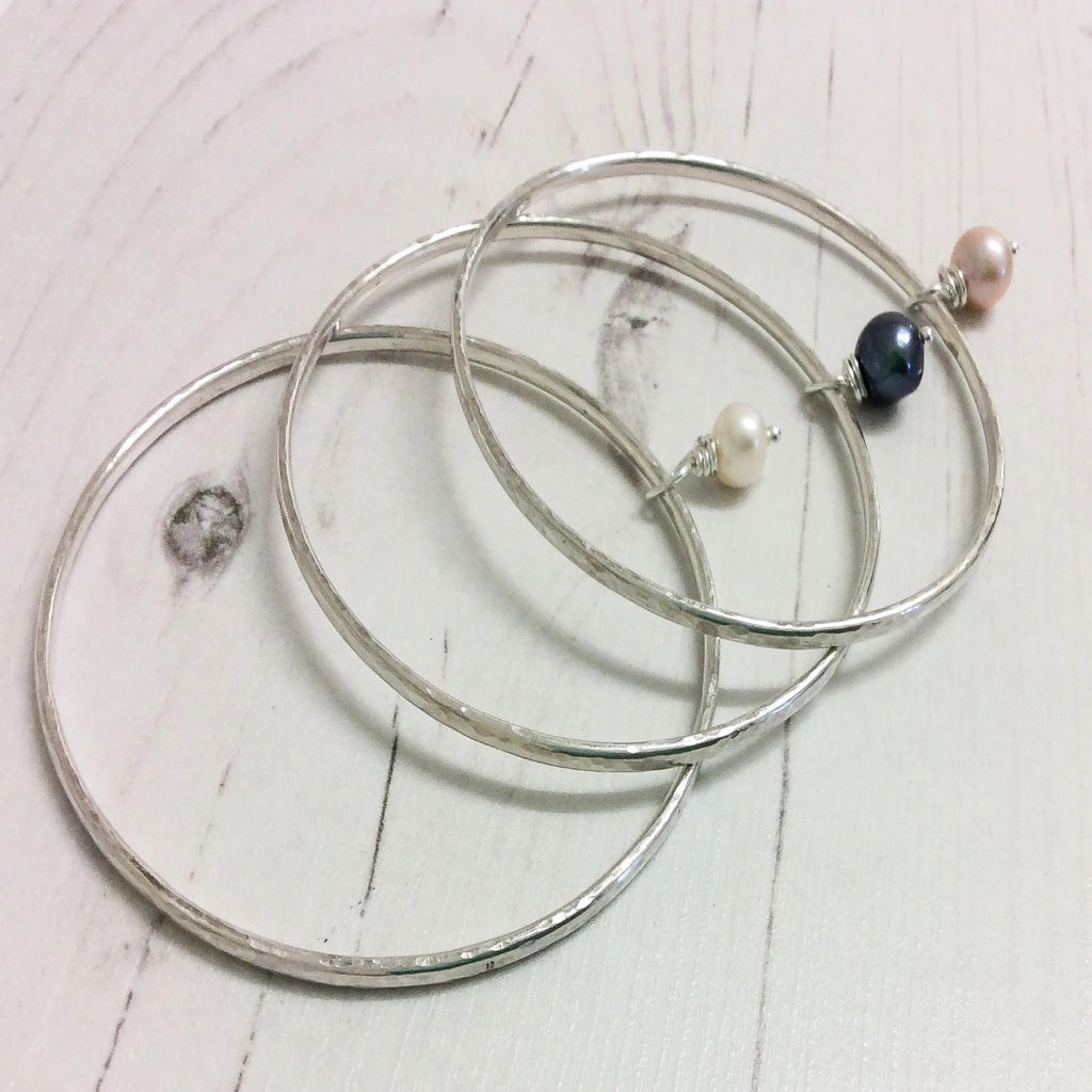 Pearl Silver Bangle