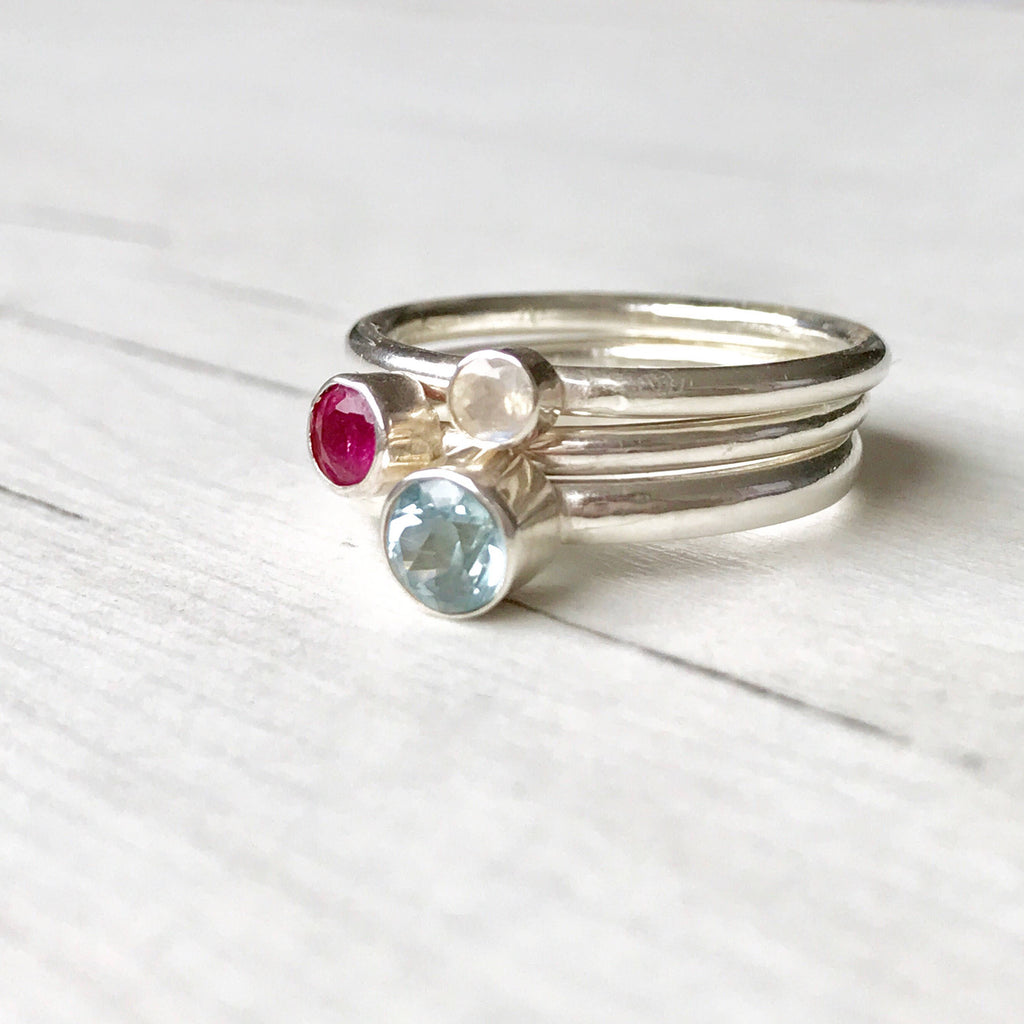 Set of Birthstone Stacking Rings