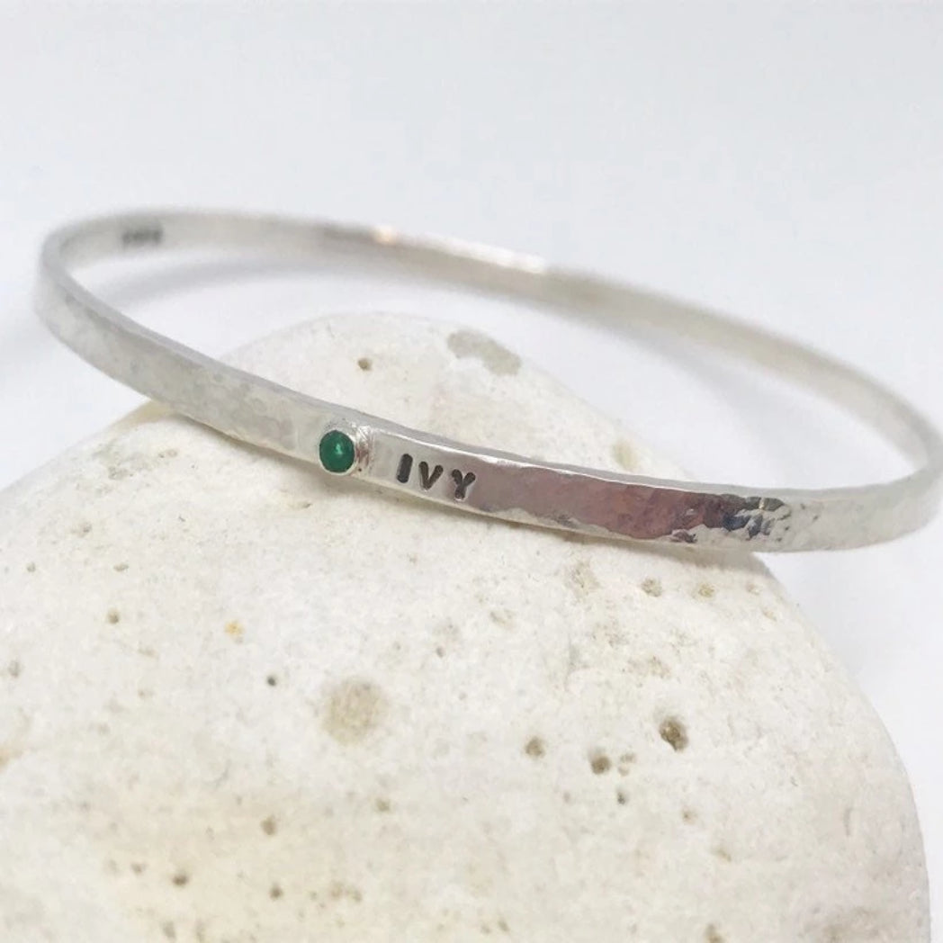 Birthstone Personalised Bangle
