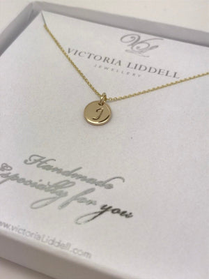 Small 9ct gold initial necklace