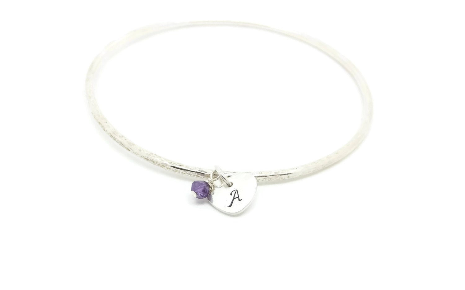 Silver Bangle with Initial Charm