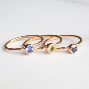 Gold Birthstone ring 3mm
